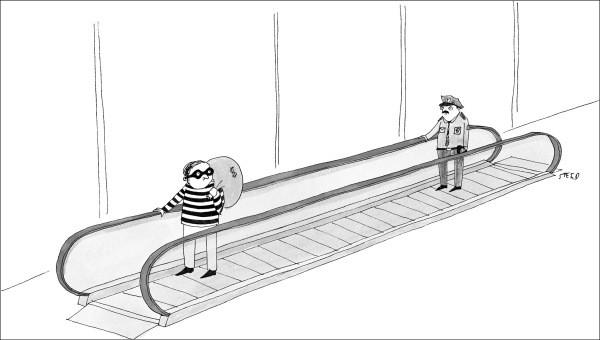 Поліцейський і злодій. Гумористична карикатура