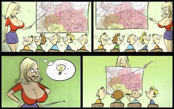 Проблеми привабливої вчительки. Замість того, щоб дивитись на географічну карту, хлопчаки витріщились на неї. Тому вчителька почала тримати карту поперед себе