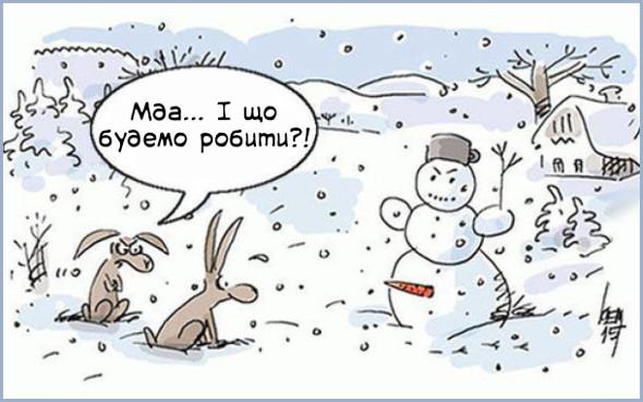 Дилема. Голодні зайці хотіли вкрасти морквину із сніговика, але побачили, що морквину вставили не там де ніс, а набагато нижче (на місці статевого органу). Один заєць каже: - Мда... І що будемо робити?!
