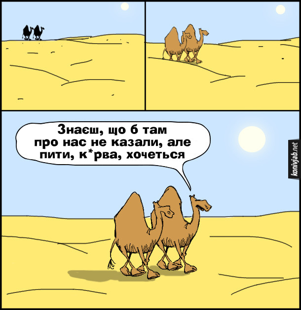 Смішний малюнок Верблюди. Йдуть пустелею двоє верблюдів. - Знаєш, що б там про нас не казали, але пити, курва, хочеться