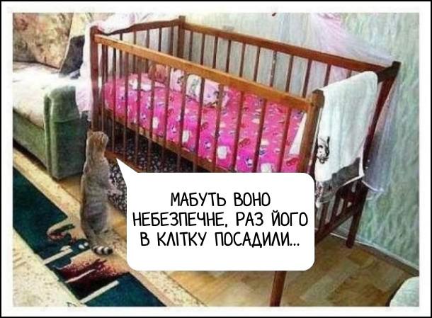 Кіт дивиться в ліжечко, де спить немовля. Думає: Мабуть воно небезпечне, раз його в клітку посадили