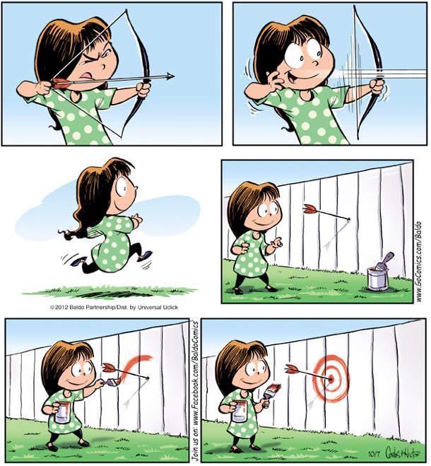 Маленька дівчинка стріляє з лука, але робить це нестандартно: спочатку влучає стрілою, а потім малює в місці влучення мішень