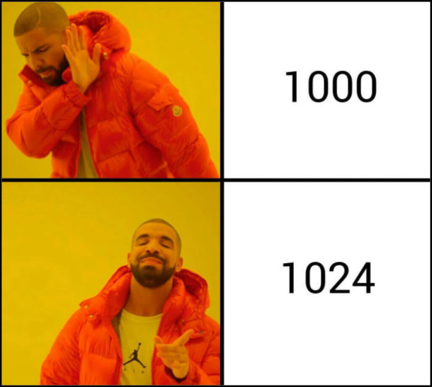 1000 байт в кілобайті - Ні! 1024 байт в кілобайті - так!