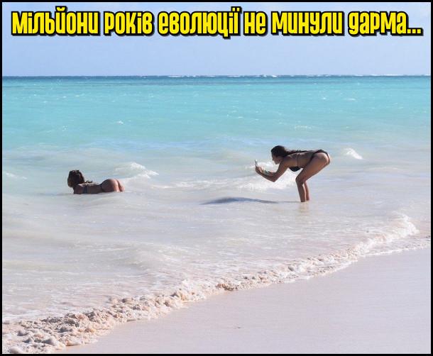 Мільйони років еволюції не минули дарма... На фото: на узбережжі океану одна дівчина фотографує дупу іншої