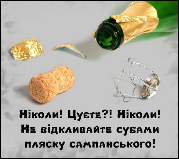 Ніколи! Цуєте?! Ніколи! Не відкливайте субами пляску сампанського!