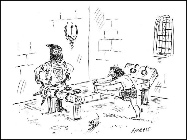 Смішний малюнок про катування. Середньовіччя, кімната катувань. Перед тортурами ув'язнений здійснює розминку робить вправи на розтяжки. Кат терпляче чекає