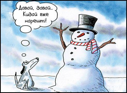 Собака сибить біля сніговика і чекає: Давай, давай... Кидай вже нарешті!