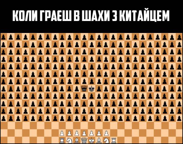 Коли граєш в шахи з китайцем, проти тебе гарає безліч пішаків