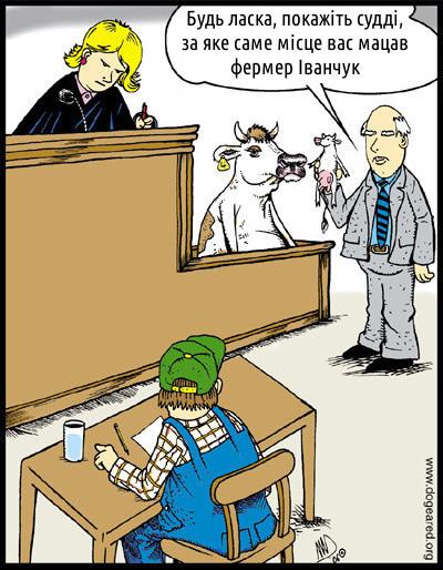 В суді на місці постраждалої сидить корова. Адвокат до неї: - Будь ласка, покажіть судді, за яке саме місце вас мацав фермер Іванчук