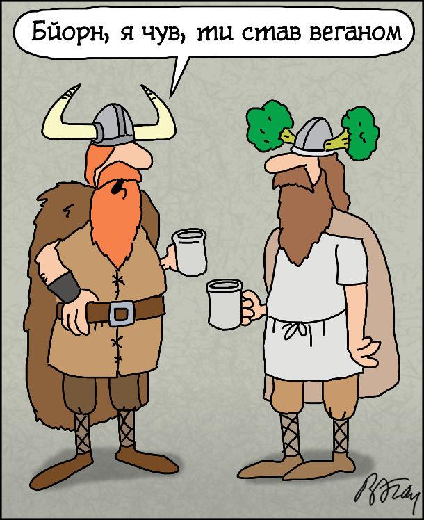 Балакають двоє вікінгів. - Бйорн, я чув, ти став веганом. В іншого вікінга на шоломі замість ріг броколі