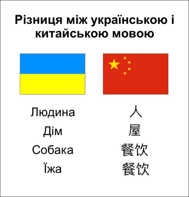 Різниця між українською і китайською мовою. Слова: людина, дім, собака, їжа. Китайські ієрогліфи собака і їжа однакові