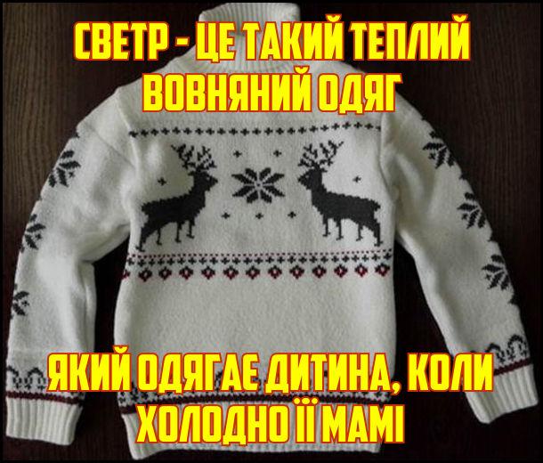 Светр - це такий теплий вовняний одяг, який одягає дитина, коли холодно його мамі