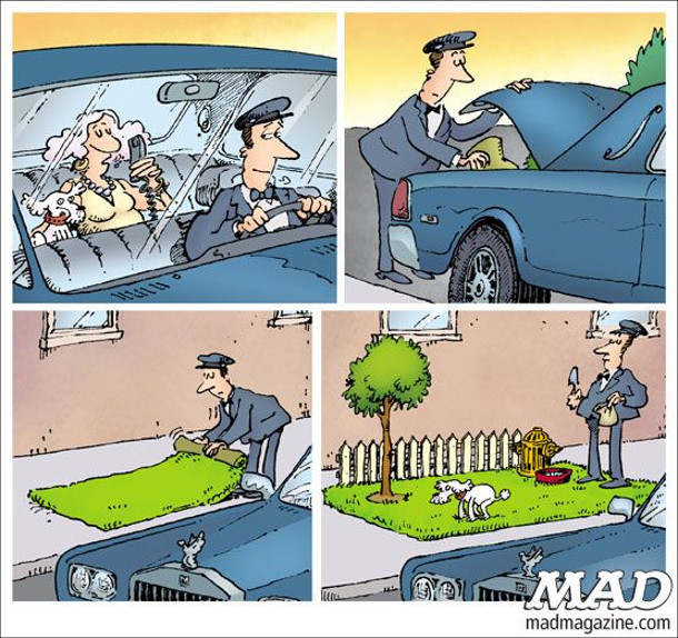 Іде багата пані з песиком в лімузині. Повідомляє водієві, що песик хоче какати. Водій зупиняється, виймає з багажника рулон з штучною травою, парканчик, дерево, гідрант, миску. Розкладає все на тротуарі і чекає з пакетиком і лопаткою, доки собаченя зробить свою справу. Комікс журналу MAD