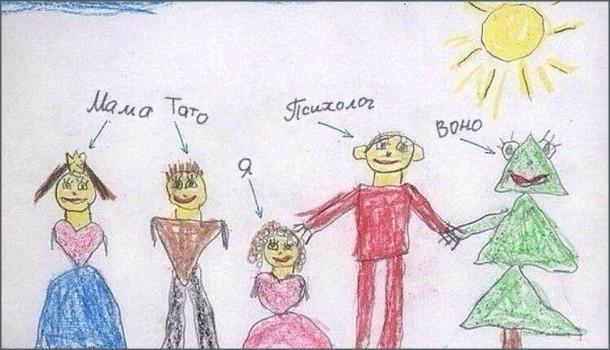 Смішний Дитячий малюнок Моя сім'я. Намаловані: Мама, тато, я, психолог і Воно (якесь чудисько, схоже на ялинку)