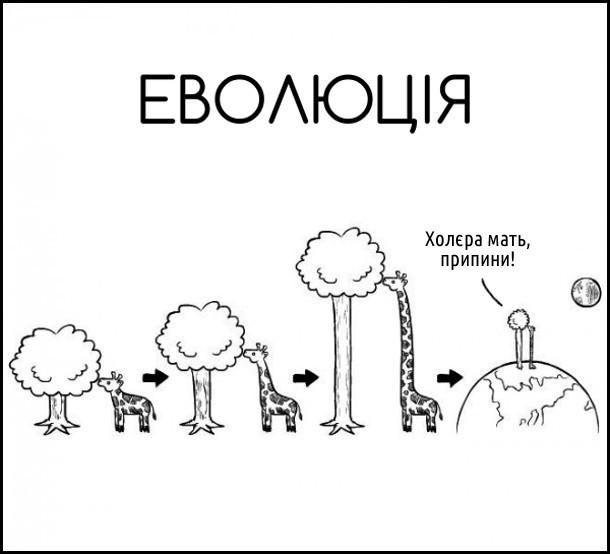 Еволюція жирафи. В жирафи збільшується шия, щоб діставати листя з дерева, дерево у відповідь також росте. Доросли до титанічних розмірів. Дерево нарешті не витримує: - Холєра мать, припини!