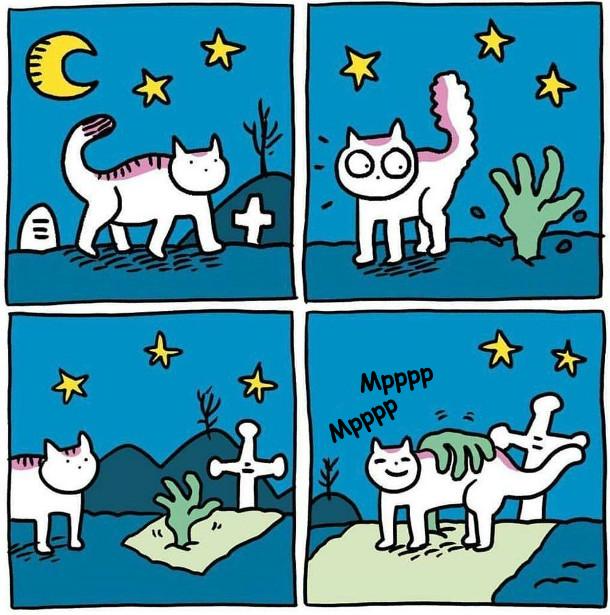 Кіт йде по кладовищі і бачить - рука висунулась з-під землі. Він спочатку злякався, а потім наблизився, щоб рка почала його гладити. Замуркотів
