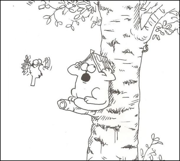 Кіт Саймона сів на дерево і замаскувався під шпаківню. Відкрив рота, неначе це вхід. Пташка підлетіла і з підозрою на це дивиться