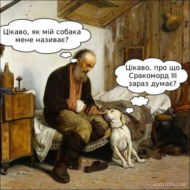 Господар: - Цікаво, як мій собака мене називає? Собака: - Цікаво, про що Сракоморд ІІІ зараз думає?