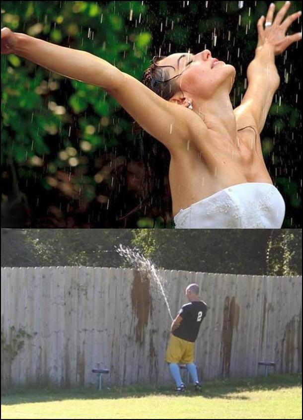 Дівчина кружляє під теплим дощем. А це не дощ, це чоловік дзюрить через паркан