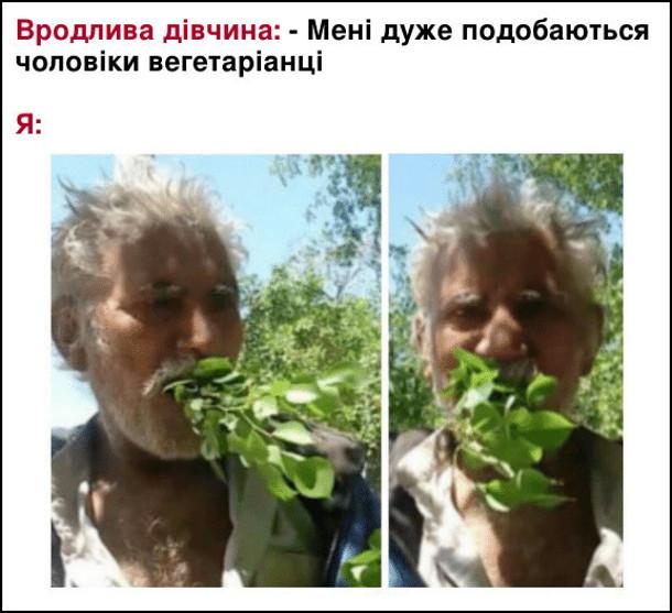 Вродлива дівчина: - Мені дуже подобаються чоловіки вегетаріанці. Я одразу починаю їсти гілку з дерева