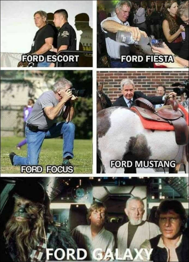 Гаррісон Форд в різних образах. Ford Escort, Ford Fiesta, Ford Focus, Ford Mustang, Ford Galaxy