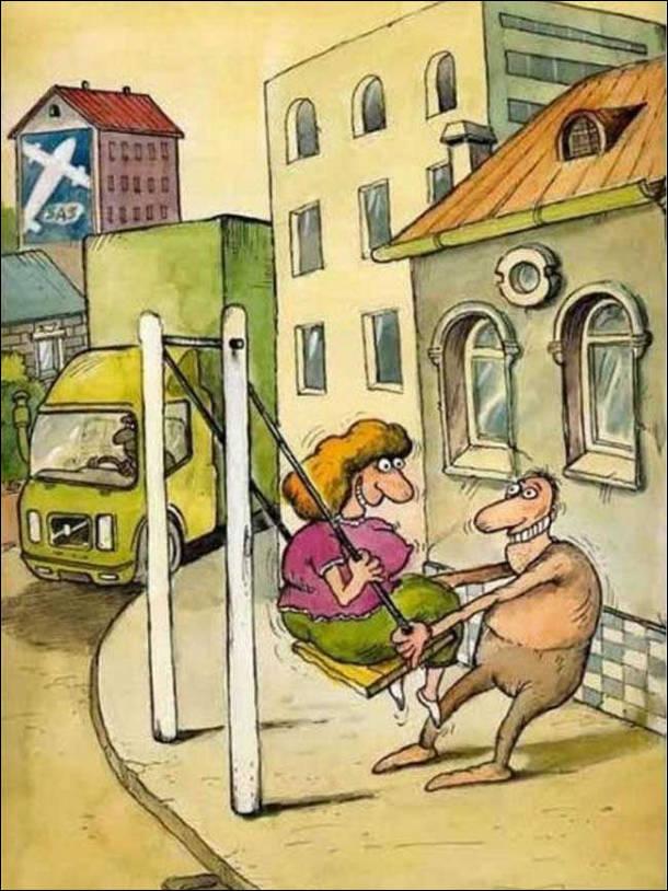 Чоловік встановив гойдалку біля дороги. Коли гойдалка гойдається назад, то може зачіпити якесь авто. Чоловік посадив на гойдалку дружину розмахнувася... По дорозі в цей час їде вантажівка