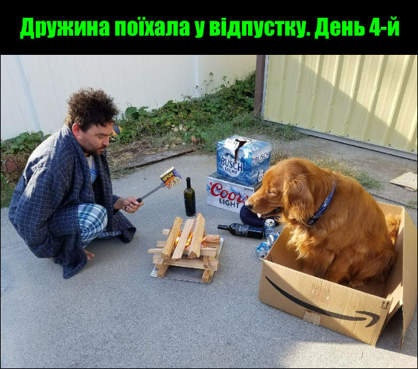 Дружина поїхала у відпустку. День 4-й. Чоловік і пес сидять в дворі переб багаттям і намагаються приготувати сніданок