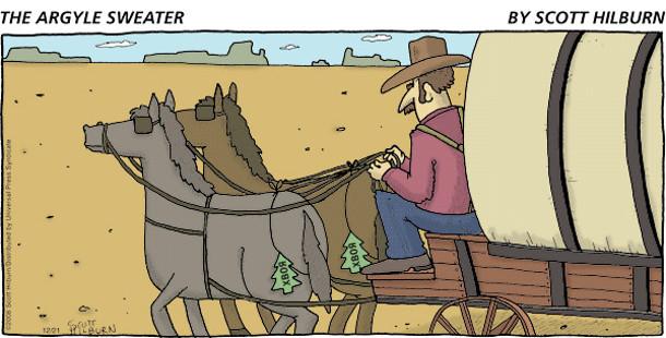 Їде прерією карета. В коней на дупах хвойні освіжувачі повітря в формі ялинок