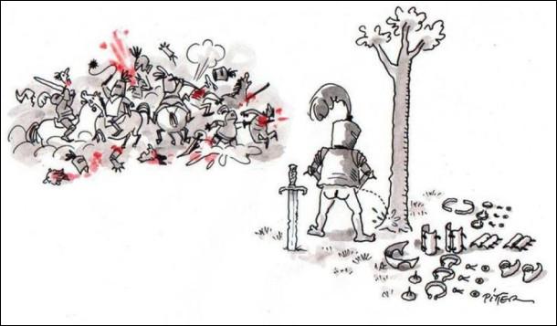 Смішний малюнок Як лицарі дзюрили. Під час середньовічної битви одному з лицарів захотілося сцяти. Він пішов до дерева і щоб подзюрити, йому довелося знімати всі металеві обладунки