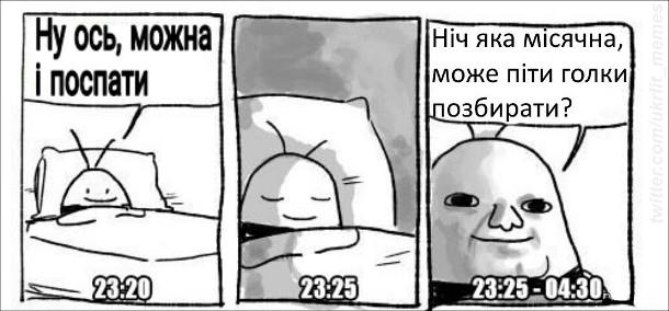 Як засинають українці. 23:20 - Ну ось, можна й поспати. 23:25-04:30 - Ніч яка місячна, може піти голки позбирати?