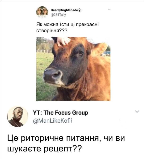 Спілкування в соцмережі. Користувачка виклала фото корови і допис: Як можна їсти ці прекрасні створіння??? Коментар: Це риторичне питання, чи ви шукаєте рецепт??