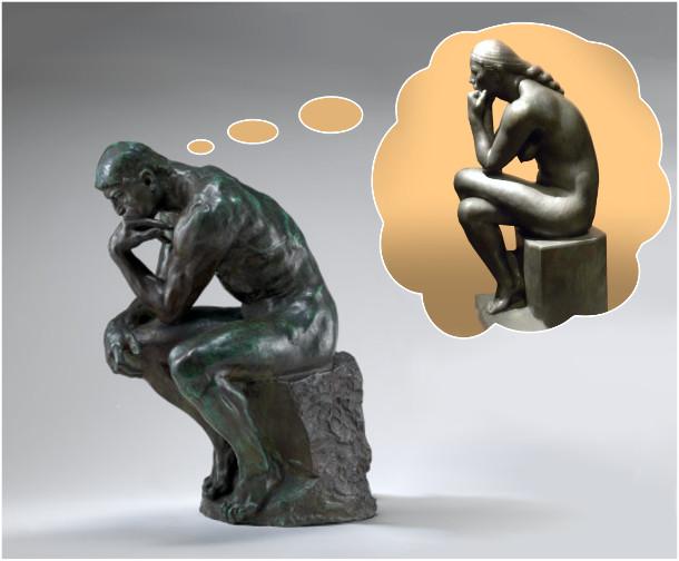 Скульптура мислителя. Мислитель думає про мислительку