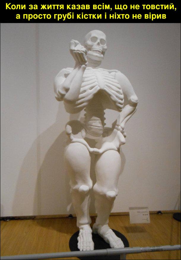 Коли за життя казав всім, що не товстий, а просто грубі кістки і ніхто не вірив. Скелет з грубими кістками