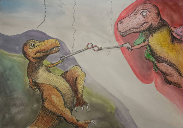 """Створення тиранозавра. Ремейк на відому картину Мікеланджело """"Створення Адама"""". В тиранозаврів в руках подовжувачі (бо лапи куці)"""