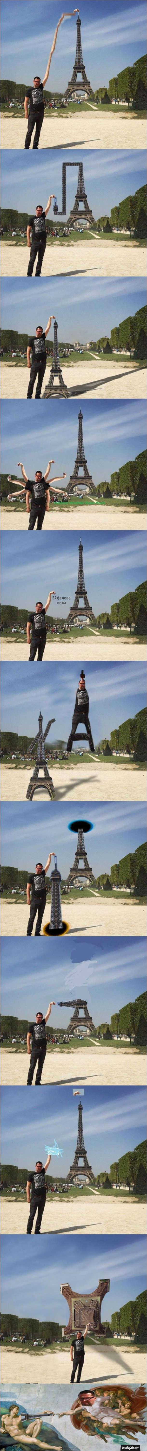 Photoshop-батл. Чоловік на тлі Ейфелевої вежі
