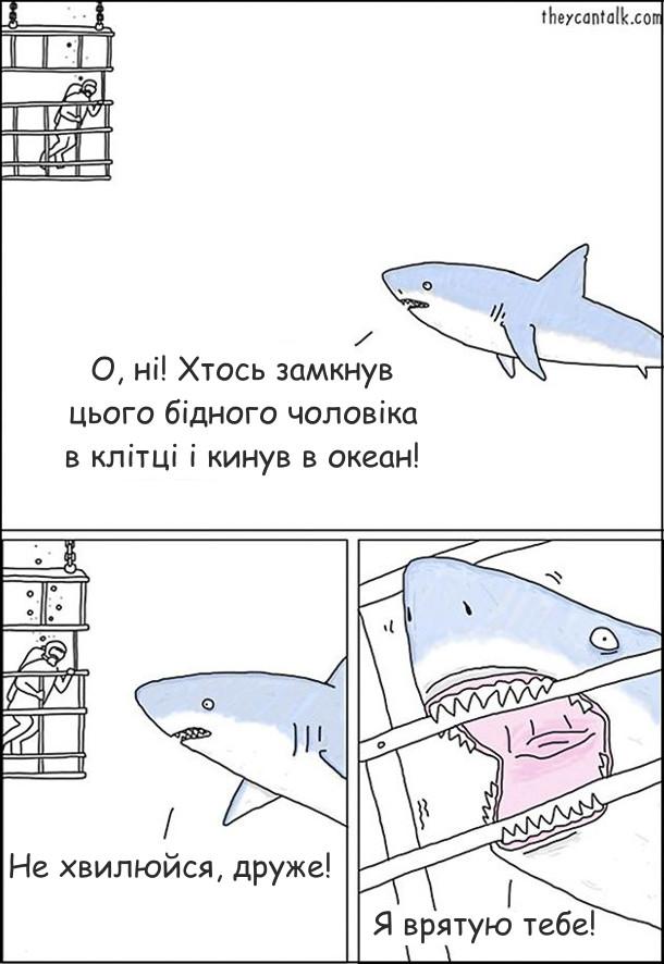 Комікс добра акула. Акула побачила аквалангіста в захисній клітці. Акула: - О, ні! Хтось замкнув цього бідного чоловіка в клітці і кинув в океан! Не хвилюйся, друже! Я врятую тебе! Вона підплила до клітки і почала гризти її зубами