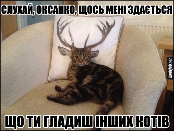 Ревнивий кіт. Кіт лежить на кріслі, а позаду нього подушка з зображенням рогатого оленя. І зається, неначе це в кота роги. Кіт: - Слухай, Оксанко, щось мені здається, що ти гладиш інших котів