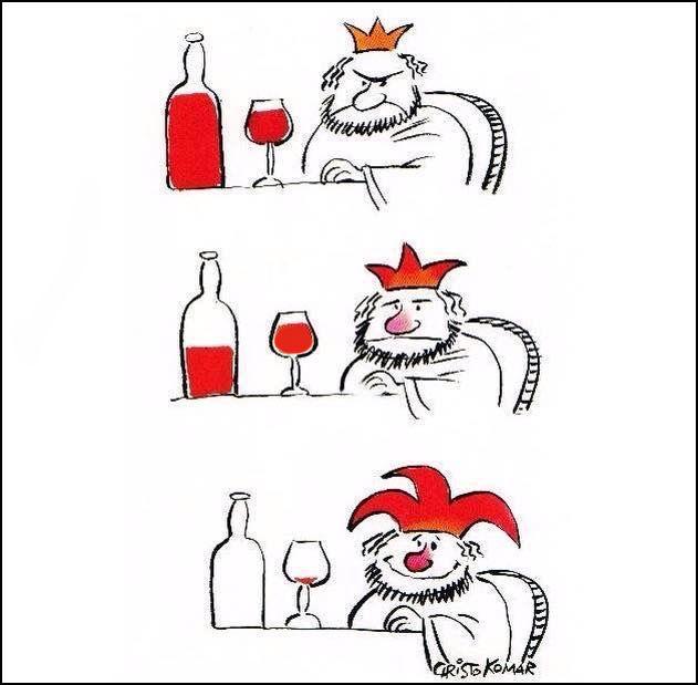 Король п'є вино і поступово перетворюється на блазня