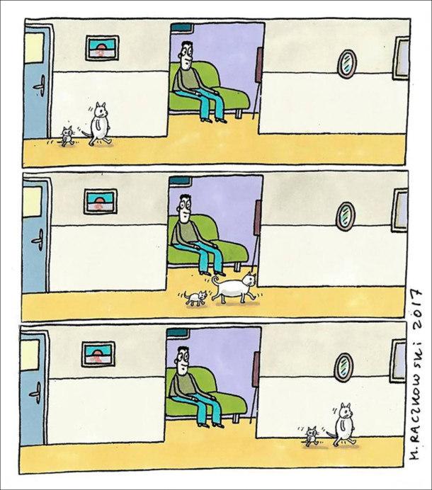 Смішний комікс Два коти (великий і маленький) йдуть пішки на двох лапах. Коли проходять повз відкриті двері, де сидить господар, опускаються на чотири лапи, а далі знову йдуть на задніх лапах