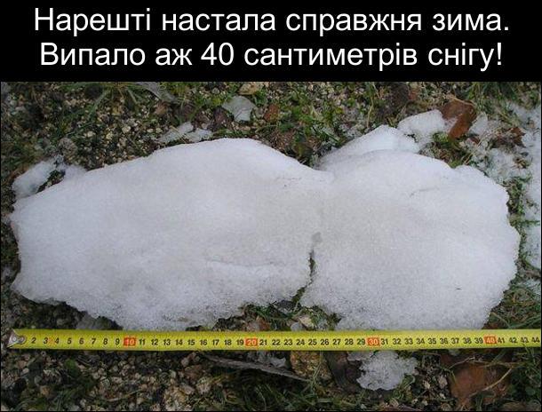Взимку мало снігу. Нарешті настала справжня зима. Випало аж 40 сантиметрів снігу! Тільки не в товщину, а в довжину. Купка снігу, яку мвряють рулеткою. Довжина купки - 40 см.