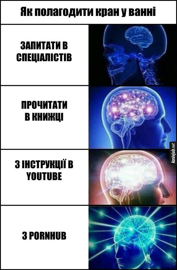 Мем розширення мозку (expanding brain). Як полагодити кран у ванні. 1). Запитати в спеціалістів. 2). Прочитати в книжці. 3). З інструкції в Youtube. 4). З Pornhub