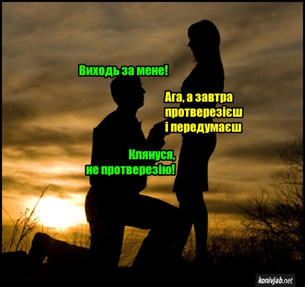 Прикол Пропозиція руки і серця. Він і вона на фоні заходу сонця. Хлопець: - Виходь за мене. Дівчина: - Ага, а завтра протверезієш і передумаєш. Хлопець: - Клянуся, не протверезію!