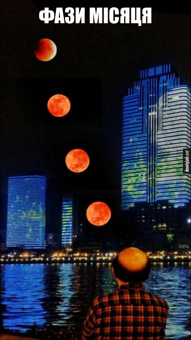 Фази місяця. Фото руху місяця,  який рухається по небу і переходить в лисину чоловіка