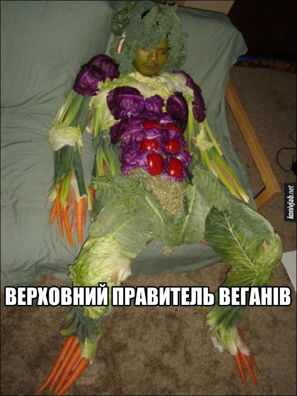 Смішне фото. Головний веган. Верховний правитель веганів. Чоловік одягнений в костюм з овочів, капусти, моркви тощо
