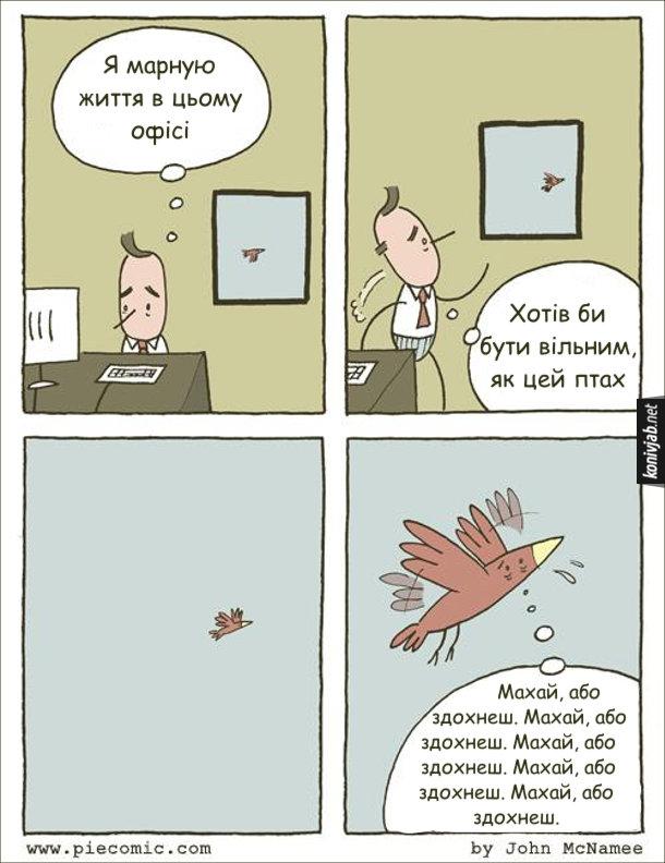 Комікс про офіс. Офісний працівник дивиться у вікно на пташку і думає : - Я марную життя в цьому офісі. Хотів би бути вільним, як цей птах. А пташка летить, зі всіх сил махаючи крилами і повторює собі: Махай, або здохнеш. Махай, або здохнеш...
