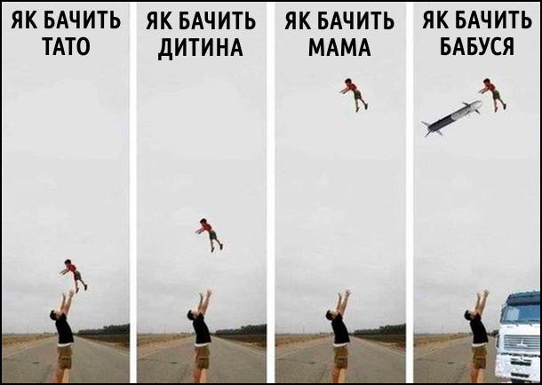Татко підкидає дитину догори. Різне сприйняття реальності в членів сім'ї. Як бачить тато: так як воно є. Як бачить дитина: ніби підкидають високо. Як бачить мама: ніби чоловік закинув дитину під хмари. Як бачить бабуся: ще більш тривожна картина - ніби на дитину летить крилата ракета, а батька збиває вантажівка