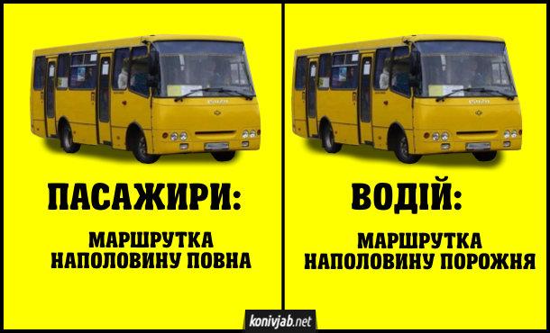 Жарт про маршрутку. Різне сприйняття. Пасажири: маршрутка наполовину повна. Водій: маршрутка наполовину порожня.