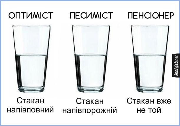 Жарт про пенсіонерів. Оптиміст: стакан напівповний. Песиміст: стакан напівпорожній. Пенсіонер: стакан вже не той