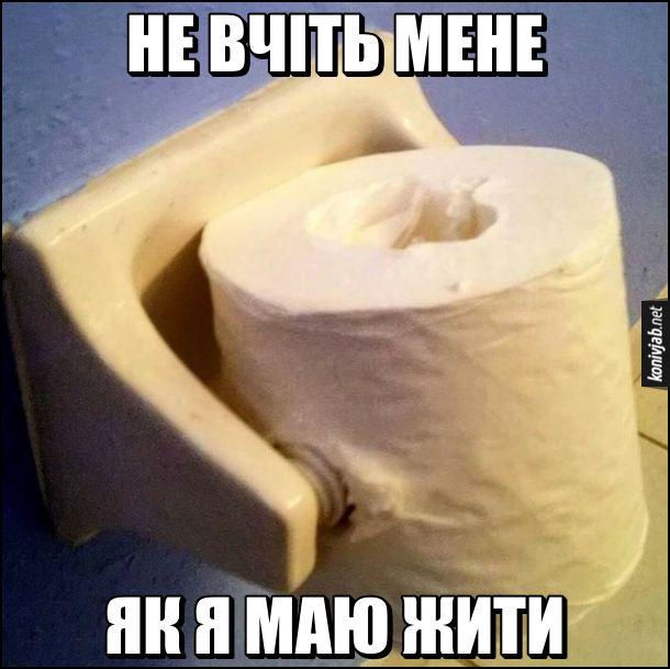 Прикол Туалетний папір. Не вчіть мене, як я маю жити. Надів рулон туалетного паперу на моток, тільки не вздовж, а поперек