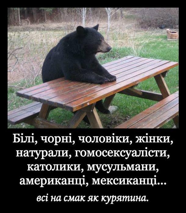 Мем, жарт про ведмедя. Ведмідь думає: Білі, чорні, чоловіки, жінки, натурали, гомосексуалісти, католики, мусульмани, американці, мексиканці... Всі на смак як курятина